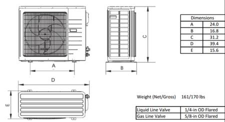 zoom in gree livo outdoor dimensions diagram