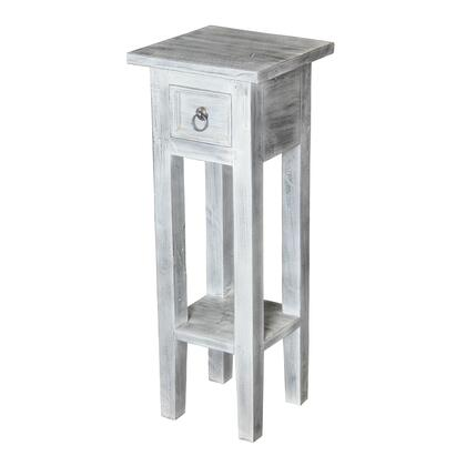 "Sterling Shutter Collection 10"" End Table with 1 Drawer, Lower Shelf, Metal Ring Pull, Square Shape and Mahogany Wood Materials in"