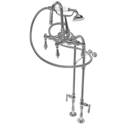 "American Bath Factory F200C- 200 Series Bathtub Faucet, 30"" Floor Mount Supply Lines, Hand Shower & 5 Metal Lever Handles:"