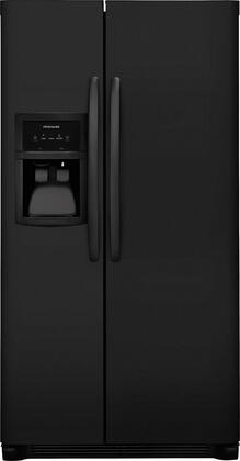 "Frigidaire FFSS2325Tx 33"" Side-by-Side Refrigerator with 22 cu. ft. Capacity, LED Lighting, External Ice and Water Dispenser, 2 Store-More Glass Shelves, 2 Wire Freezer Shelves, and Automatic Ice Maker, in"