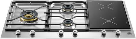 "Bertazzoni PM363I0 36"" Segmented Cooktop, 3 Sealed Burners, 2 Induction Zones, Continuous Grates, Electronic Ignition: Stainless Steel"