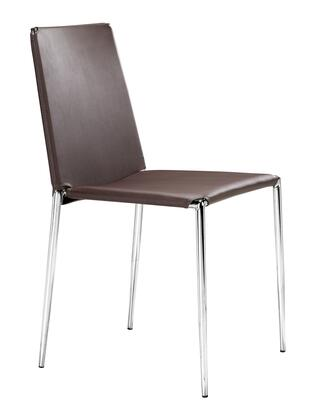 Zuo 101107 Alex Series Modern Faux Leather Metal Frame Dining Room Chair