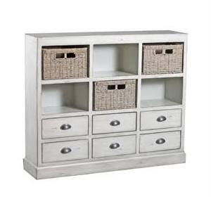 """Powell Currituck Collection 15A206 46"""" Console with Three Baskets, Six Drawers and Metal Cup Pulls in"""