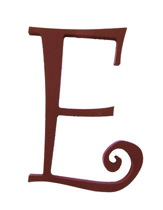 FireSkape XX8001005 Decorative MDF Routed Curly Q Script Letter 8 Inches Tall in Brown Dark Truffle Finish