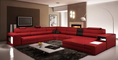 VIG Furniture VGEV5022DKRED Divani Casa Polaris Series Sofa and Chaise Bonded Leather Sofa