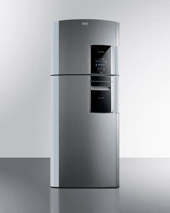 """Summit FF1935IM 30"""" Counter Depth Top Freezer Refrigerator with 18.12 cu. ft. Capacity, Frost Free Operation, Express Chill Zone and Smart Station in Platinum"""