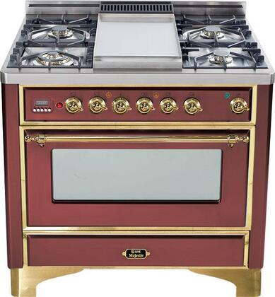 """Ilve UM906MPRB 36"""" Majestic Series Dual Fuel Freestanding Range with Sealed Burner Cooktop, 2.8 cu. ft. Primary Oven Capacity, Warming in Burgundy Red"""