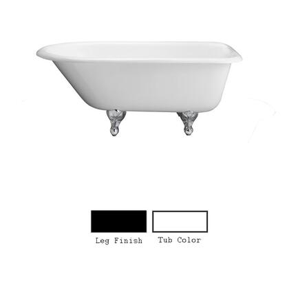 "Barclay CTR60WH 60"" Bartlett Cast Iron Roll Top in White with"