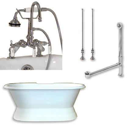 "Cambridge DESPED684DPKGXX7DH Cast Iron Double Ended Slipper Tub 71"" x 30"" with 7"" Deck Mount Faucet Drillings and English Telephone Style Faucet Complete Plumbing Package"