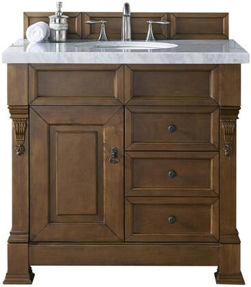 "James Martin Brookfield Collection 147-114-5576- 36"" Country Oak Single Vanity with Single Soft Closing Door, Two Soft Closing Drawers, Backsplash, Hand Carved Filigrees and"
