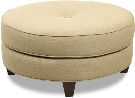 """Klaussner Pippa Collection K21500-OTTOC 36"""" Ottoman with Round Cushion, Button Tufted Top and Wooden Tapered Legs in"""