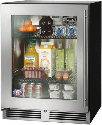 "Perlick HA24RB3 24"" Built-in ADA Compliant Refrigerator with 4.8 cu. ft. Capacity, 525 Btu Commercial-Grade Compressor, RAPID Cool Refrigeration System, Stainless Steel Interior and Black Cabinet"