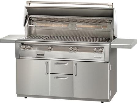"""Alfresco ALXE-56BFGC-LP 56"""" Liquid Propane Standard Grill on Cart Deluxe with 82500 BTU, Sear Zone, Rotisserie and Built-In Motor in Stainless Steel"""
