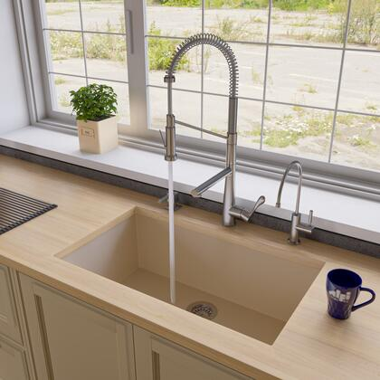 "Alfi AB3322UM-XX 33"" Single Bowl Kitchen Sink with Granite Composite and Under Mount Installation Hardware in"