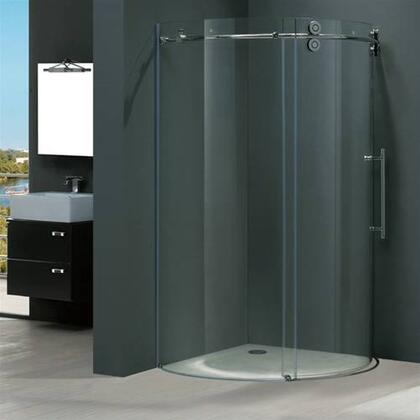 "Vigo VG6031XXCL40R 40"" x 40"" Frameless Round 5/16"" Shower Enclosure Right Sided Door:"