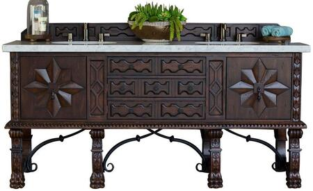 """James Martin Balmoral Collection 150-V72-ANW- 72"""" Antique Walnut Double Vanity with Hand Carved Details, Iron Scrollwork, Two Soft Closing Doors, Two Full Size Drawer, One Hide-away Tip Out Drawer and"""