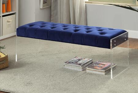 "Meridian Jane 103X 48"" Velvet Bench with Acrylic Legs, Tufted Detailing and Hand Crafted in"