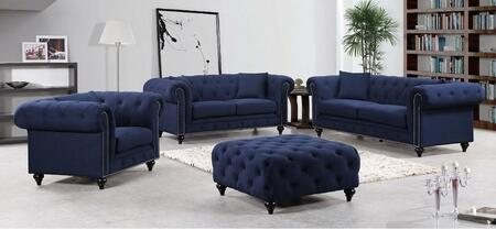 Meridian 662NAVYSLC Chesterfield Living Room Sets
