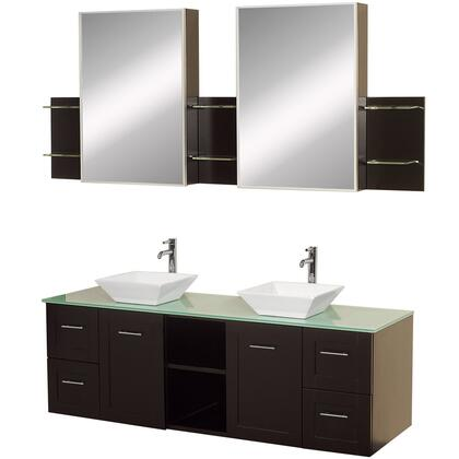 "Wyndham Collection WCS007SH60ES 60"" Double Vanity Set with 4 Soft Close Drawers, 2 Soft Close Doors, 2 Medicine Mirror Cabinets in Espresso Finish"