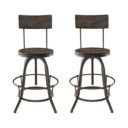 Modway EEI-1605 Procure 2 Piece Dining Room Stool Set, with Industrial Modern Design, Tapered Metal Legs, Tubular Foot Ring, Solid Pine Wood Seat and Back