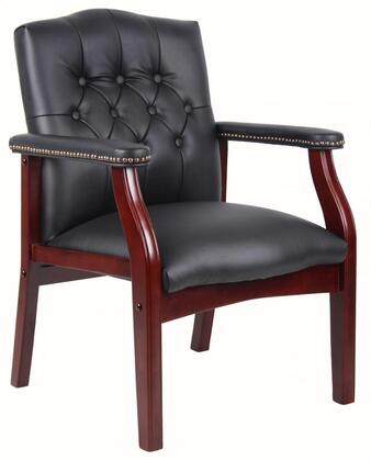 "Boss B959 36"" Traditional Guest Chair with Mahogany Finished Wood Components, and Nail Head Trim"