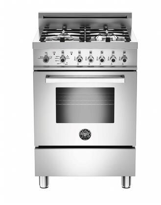 """Bertazzoni Professional PRO244GAS 24"""" Gas Range With 4 Aluminum Burners, 18,000 BTUs Power Burner, Designer Metal Knobs, 2.4 cu. ft. Gas Convection Oven, 1.0 cu. ft. Storage Compartment in Stainless Steel"""