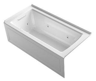"Kohler K-1947-HLA- Archer 60"" x 30"" Three-Side Integral Flange Whirlpool Bath Tub with Left-Hand Drain, Heater and Comfort Depth Design in"