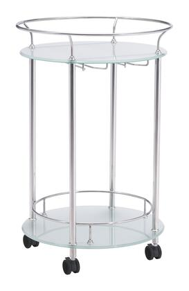 """Zuo 10036 Plato 32"""" Serving Cart with Locking Casters, Wine Glass Holder, and Two Shelves"""