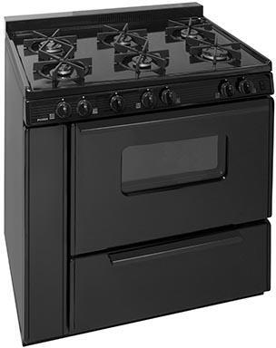 """Premier STK2X0BP 36""""  Gas Freestanding Range with Sealed Burner Cooktop, Storage in Black"""