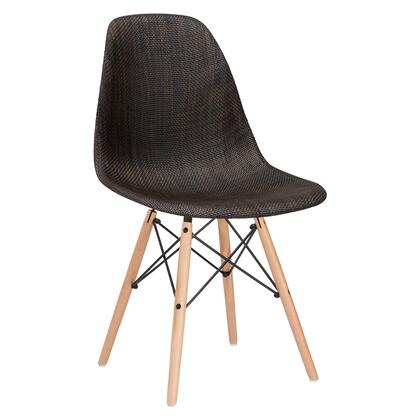 "EdgeMod Vortex Collection  21.5"" Dining Chair with Plastic Non-Marking Feet, Wood/Wire Base and Woven Fabric Upholstery in"