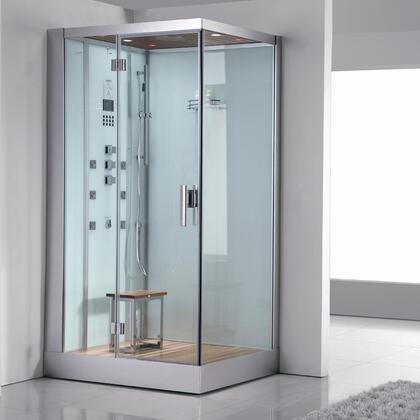 Ariel DZ959F8W Platinum White Steam Shower with Acupuncture Massage, Wooden Floorboard, Overheat Protection and 6 Body Massage Jets
