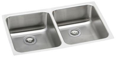 """Elkay ELUHAD3118 Gourmet Lustertone Stainless Steel 30-3/4"""" x 18-1/2"""" ADA Undermount Double Bowl Sink:"""