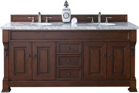 """James Martin Brookfield Collection 147-114-5781- 72"""" Warm Cherry Double Vanity with Four Soft Closing Doors, Three Soft Closing Drawers, Backsplash, Hand Carved Filigrees and"""