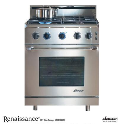 "Dacor ER30GSCHNG 30"" Renaissance Series Gas Freestanding Range with Sealed Burner Cooktop, 4.15 cu. ft. Primary Oven Capacity, in Stainless Steel"