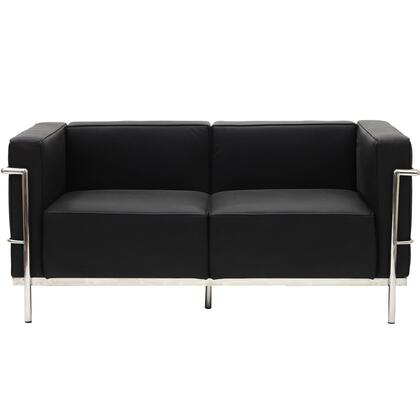 Modway EEI566BLK Charles Series Leather Stationary with Metal Frame Loveseat
