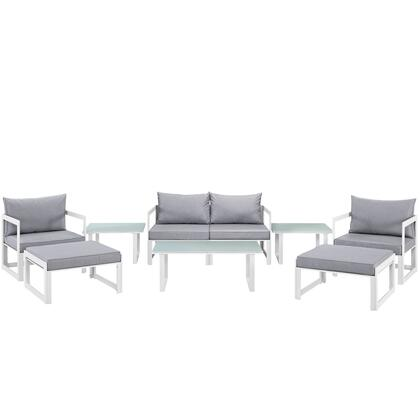 Modway Fortuna Collection 9 PC Outdoor Patio Sectional Sofa Set with Black Plastic Base Glides, Powder Coated Aluminum Frame and Washable Polyester Cushion in