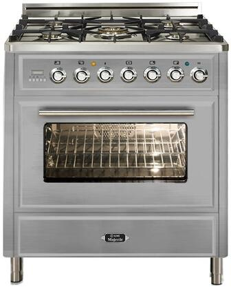 """Ilve UMT76DVGG 30"""" Majestic Techno Series Freestanding Gas Range with 5 Burners, Infrared Grill-Baking or Broiler, 3 cu. ft. Oven Capacity, Full Width Storage/Warming Drawer, Digital Clock and Timer, and Flame Failure Safety"""