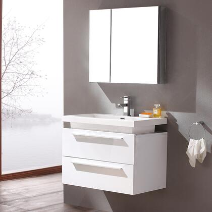 "Fresca Medio Collection FVN8080 32"" Modern Bathroom Vanity with Medicine Cabinet, 2 Soft Closing Drawers and Integrated Acrylic Countertop and Sink in"