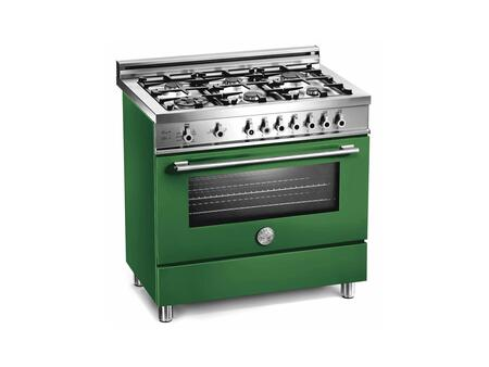 Bertazzoni X366PIRVE Professional Series Dual Fuel Freestanding Range with Sealed Burner Cooktop, 4 cu. ft. Primary Oven Capacity, in Green