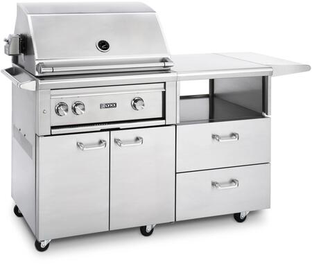 """Lynx L30PSR-M Professional Series 30"""" Grill on Mobile Kitchen Cart with 1 Brass Burner, 1 ProSear Burner and Rotisserie, Blue LED Knob Light and Temperature Gauge, in Stainless Steel:"""
