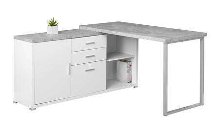 "Monarch I728DESK 57"" Computer Desk with 3 Drawers, Open Adjustable Shelf and Cabinet Door in"