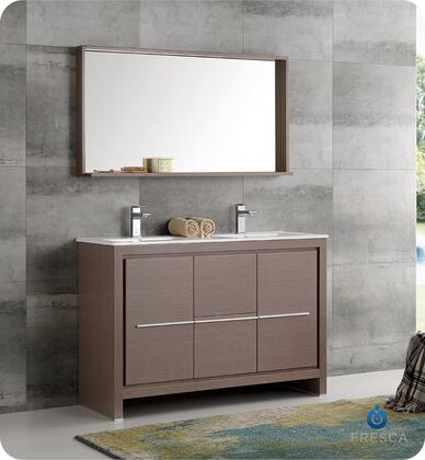 """Fresca Allier Collection FVN8148 48"""" Modern Bathroom Double Sink Vanity with Mirror, Soft Closing Drawer and Integrated Ceramic Countertop and Sink in"""