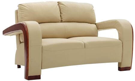 "Glory Furniture 58"" Loveseat with Wood Trim on Arms, Removable Arms, Split Back Cushions and Faux Leather Upholstery in"