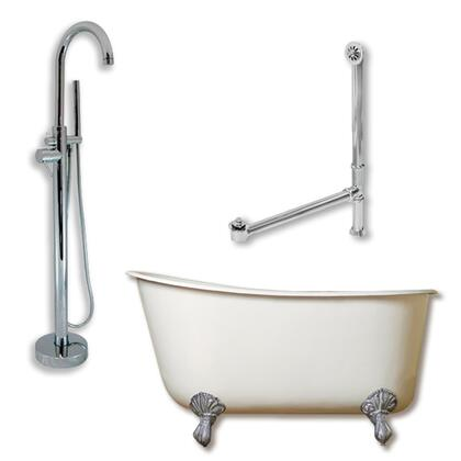 "Cambridge SWED58150PKG Cast Iron Swedish Slipper Tub 58"" x 30"" with no Faucet Drillings and Complete Modern Freestanding Tub Filler with Hand Held Shower Assembly Plumbing Package"