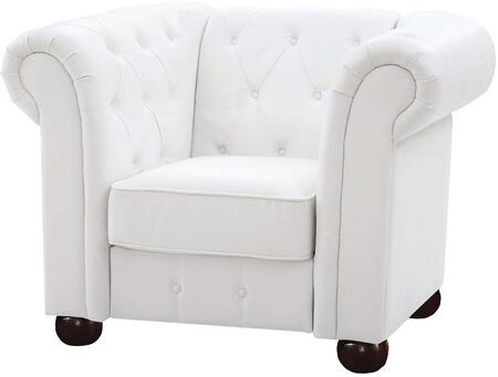Glory Furniture G490C Faux Leather Armchair with Wood Frame in White