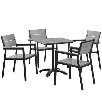 Modway Maine Collection EEI-1761- 5-Piece Outdoor Patio Dining Set with Dining Table and Four Armchairs in