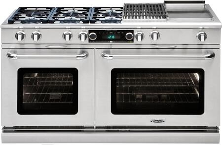 """Capital Precision Series CSB606BG-X 60"""" Freestanding Dual Fuel Electric Range with 6 Sealed Burners, Primary 4.6 Cu. Ft. Oven Cavity, Secondary 3.1 Cu. Ft. Oven Cavity, and Moto-Rotis, in Stainless Stee"""