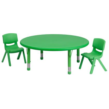 "Flash Furniture YU-YCX-0053-2-ROUND-TBL-XX-R-GG 45"" Round Adjustable Plastic Activity Table Set with 2 School Stack Chairs"