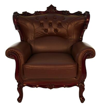 J. Horn 2128BROWNC 2128 Series Bonded Leather Armchair with Wood Frame in Brown