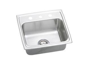 """Elkay LRAD1919650 20"""" Top Mount Self-Rim Single Bowl 18-Gauge ADA Compliant Stainless Steel Sink"""